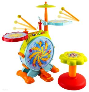 WolVol Electric Big Toy Drum Set with Movable Mic