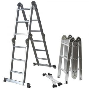 OxGord 12.5 ft Multi-fold Multi-use Aluminum Ladder with 350 lb. Load Capacity
