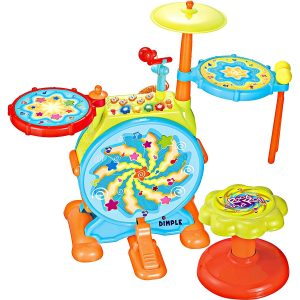 Dimple Kids Electric Big Toy Drum Set with Working Mic