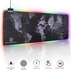 JYZZ Large Cool RGB Nylon Stitched Gaming Mouse Mat