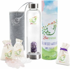 Zentrinsi-Crystal Elixir Glass Water Bottle