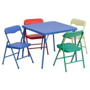 lash Furniture Kids 5 Piece Folding Table and Chair Set