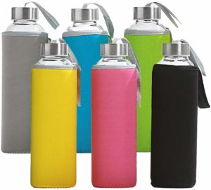 California Home Goods 18 Oz Capacity Glass Water Bottles