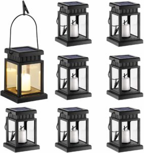 GIGALUMI 8 Pack Solar Hanging Outdoor Lantern