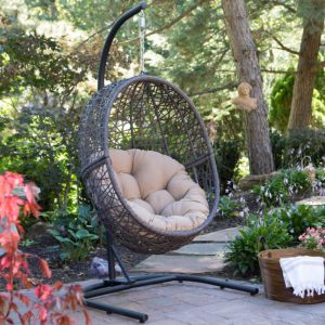 Island Bay Resin Wicker Espresso Hanging Egg Chair