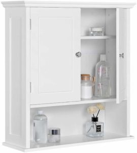 Topeakmart White Two-Door Wall Handing Cabinet