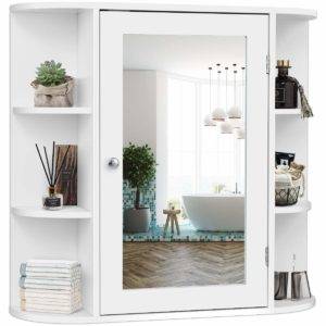 Tangkula Single Door Wall Mounted Medicine Cabinet with Mirror