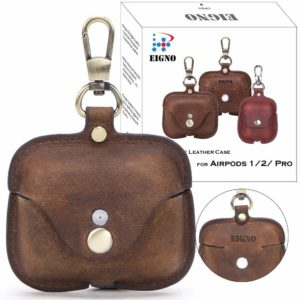 EIGNO Airpods Pro Case Crazy Horse Leather with Keychain