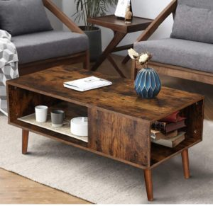 KINGSO Retro Mid Century Coffee Table with Storage Shelf