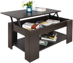 SUPER DEAL Top Coffee Table w Hidden Storage Pop-Up Shelves