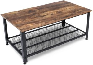 KingSo Industrial Coffee Table with Shelf