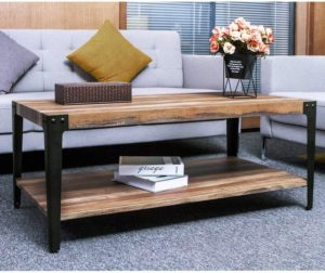 IRONCK Living Room Table with Storage Bottom Shelf
