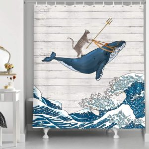 NYMB Funny Cat Riding Whale in Ocean Shower Curtain