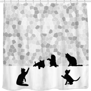 Sunlit Design Cat Silhouette & Gray Mosaic Fabric Curtain