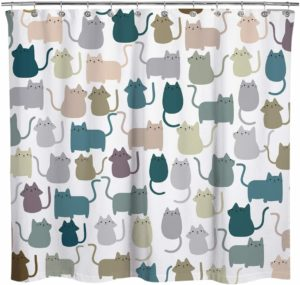 Sunlit Multicolor Cartoon Cats Fabric Shower Curtain
