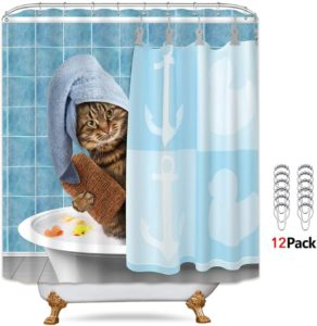 Riyidecor Funny Cat Shower Curtain with Metal Hooks