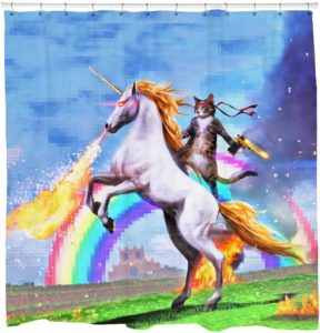 Sharp Shirter Unicorn Shooting Fire Cat Shower Curtain