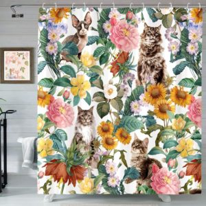 Haibimen Cat Floral Shower Curtains for Bathroom,